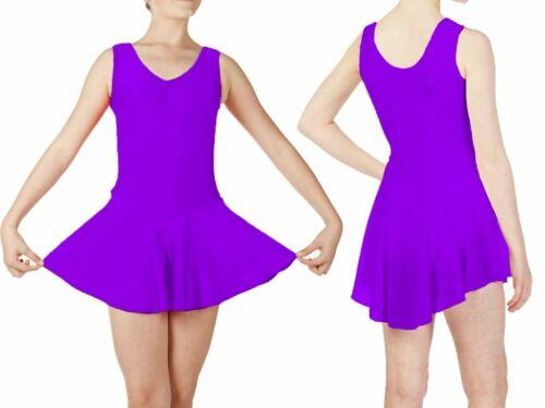 KLS Kids Girls Sleeveless Ballet Dance Gymnastic Leotard with Shine Nylon Skirt