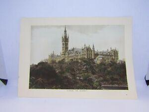 Old-vintage-antique-colour-print-Glasgow-the-University-Scotland-27-x-19-cm