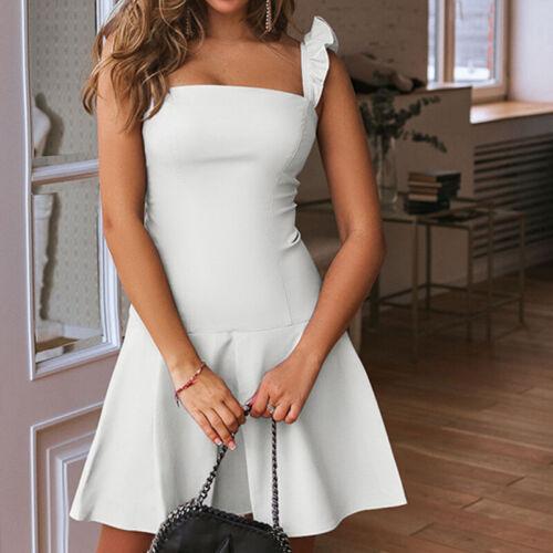 Damen Rüschen Sommerkleid Minikleid Skaterkleid Freizeitkleid Party Trägerkleid