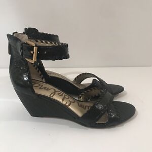 439a085068fd Sam Edelman Women s Shoes Silvia Wedge Sandal Marble Snake Black Sz ...