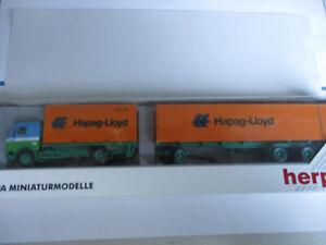 Herpa-H0-Mercedes-Container-Lastzug-heik-Hapag-Lloyd-unbespielt