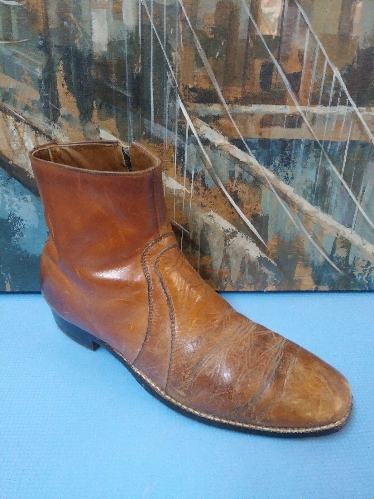 Mens VTG Dress Zip Ankle Boots Men's US 11.5 B Brown