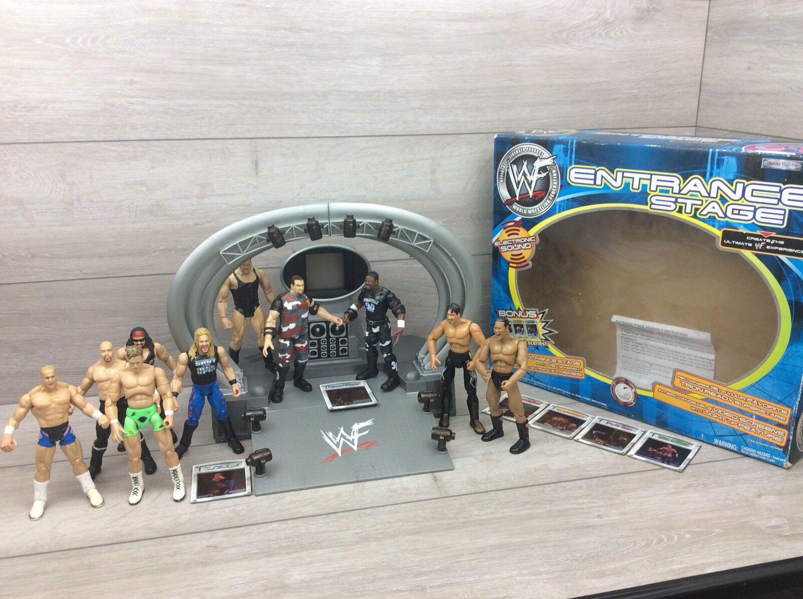 VINTAGE WRESTLING RING ingresso titantron 2001 Jakks WWE Bundle in Scatola