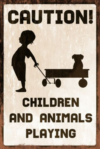gate Children and Animals Playing Warning Information Vintage style retro sign