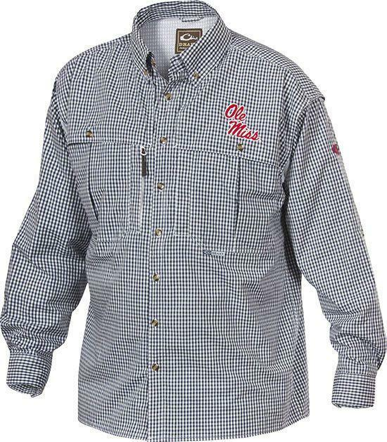 Drake Waterfowl Ole Miss Wingshooter Long Sleeve Shirt SD-OLM-2671-NVY