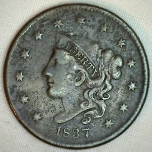 1837-Coronet-Large-Cent-US-Copper-Type-Coin-Extra-Fine-XF-Variety-N4-R5