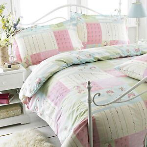 Gran-nudo-Poly-Algodon-Floral-Duvet-cover-set-Juliet-rosa-unico