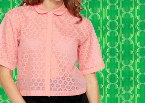 577✪ Twiggy Bluse mit Bubi Kragen tranperente Blumen 60er 70er Jahre Style Retro