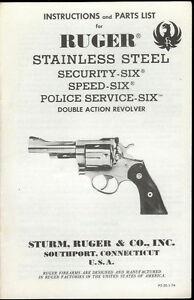 1974 sturm ruger ss security speed police service six revolver rh ebay com ruger air magnum owner's manual ruger sp101 owners manual