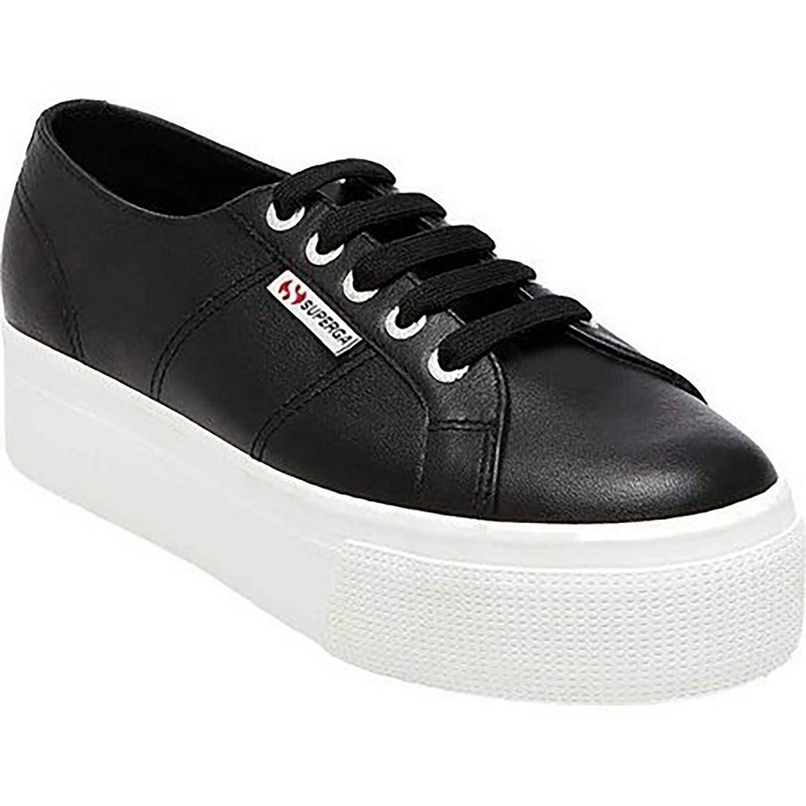 Superga Women's 2790 Black Leather Platform Fashion Sneaker Size US 10