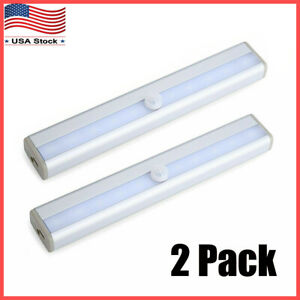 2-Pack-10-LED-Motion-Sensor-Light-Wireless-Night-Cabinet-Closet-Battery-Powered