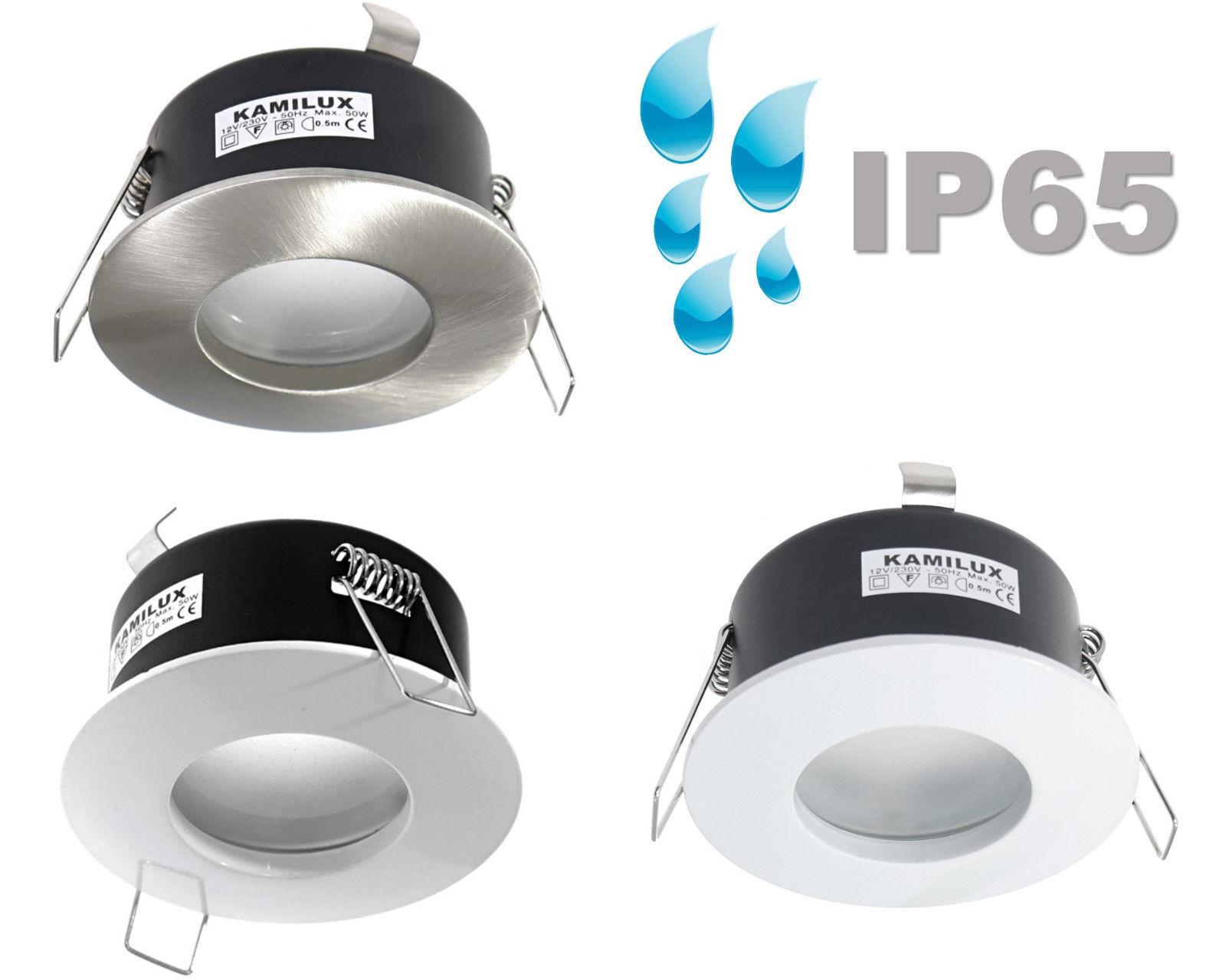 Feuchtraum Bad Dusche Einbauleuchte rund, IP65 ohne Leuchtmittel, 12V od. 230V