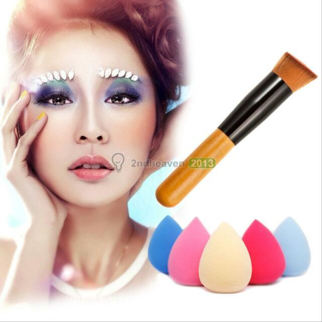 1XEgg Makeup Foundation Sponge Blender Blending Puff Powder & Oblique Head Brush