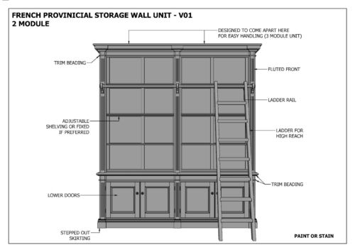 FRENCH PROVINCIAL WALL STORAGE UNIT 2 Module Make Ur Own /& SAVE Full  Plans