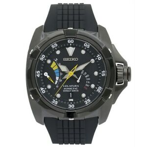 Seiko-Velatura-SRH013-P1-Kinetic-Direct-Drive-Black-Retrograde-Date-Men-039-s-Watch