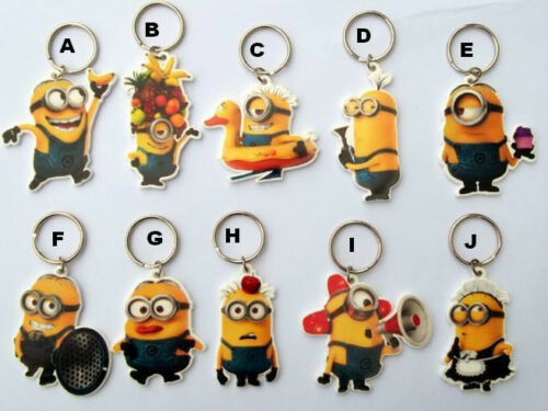Despicable Me Flat Plastic Keyring 10 Designs Keychain Collect Minions Minions