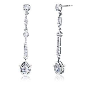 1 Karat 925 Sterling Silber Hochzeit Ohrhänger Ohrschmuck Zirkonia Fe8062