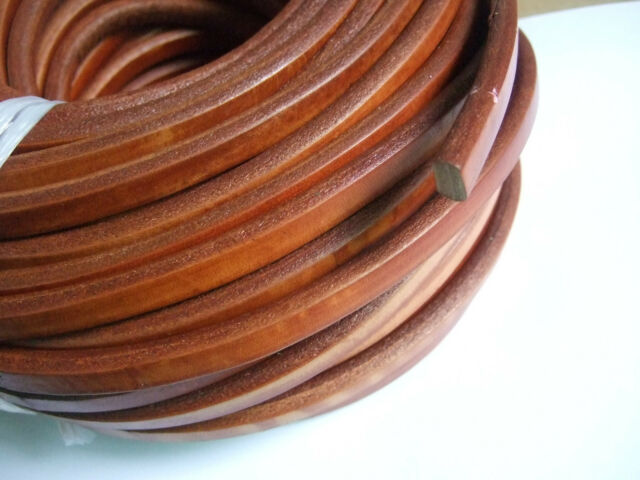 10x6mm Camel Colored Genuine Licorice Leather Jewelry Cord 8 Inches - 5 Yards