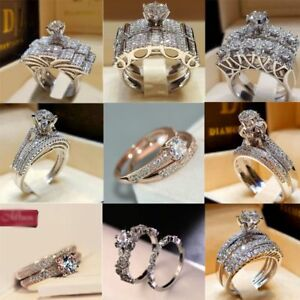 Luxurious-Shiny-925-Silver-White-Sapphire-Bridal-Engagement-Jewelry-Ring-Set