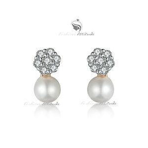 18k-yellow-gold-GF-made-with-swarovski-crystal-wedding-pearl-stud-earrings-cute