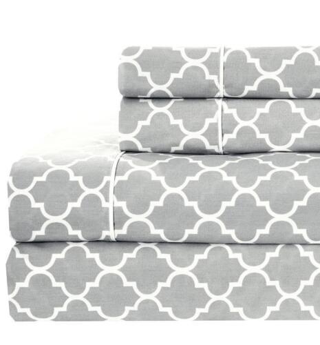 Split California King Printed Sheets Meridian 100/% Cotton 340 TC 5 PC Sheet Set