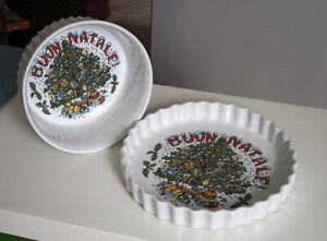 Pirofile in ceramica Buon Natale, per souffle' e crostata, teglie da forno