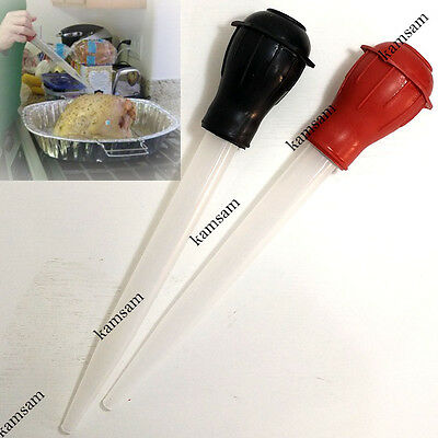 Juicy poultry chicken turkey meat baster BBQ oven cooking tube pump flavor