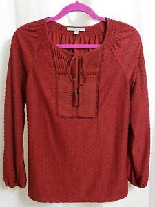Daniel-Rainn-Stitch-Fix-Brick-Red-Long-Sleeve-Popover-Blouse-SMALL-Women-039-s