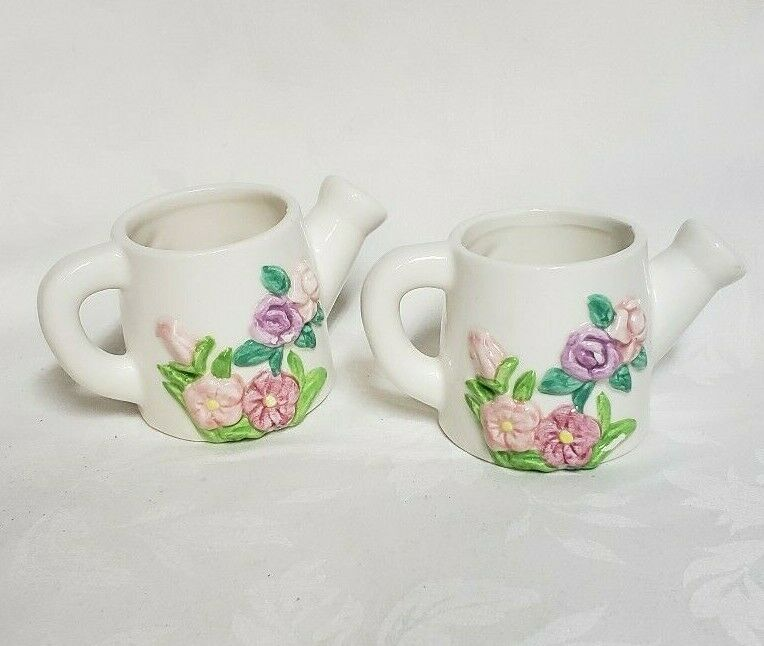Russ Ceramic Mini Pink & Green Watering Can Pitcher Set of Two Made in China