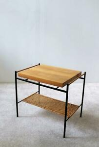 Unique-Hungarian-Modernist-Iron-and-Wicker-Side-Table-1950s