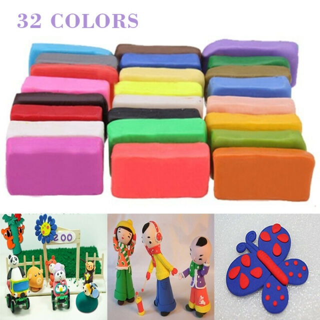32 Colorful Oven Bake Polymer Set Soft Clay Modelling Moulding DIY Toys Tool