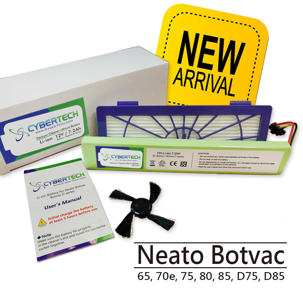 High Capacity 7200mAh Lithium Ion Battery for Neato Botvac D85 free Brush+Filter