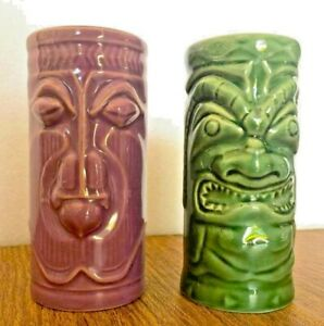 Accoutrements-2001-Ceramic-Hawaiian-Tiki-Vase-Mug-Vintage-Bar-Ware-Cup-Lot-of-2