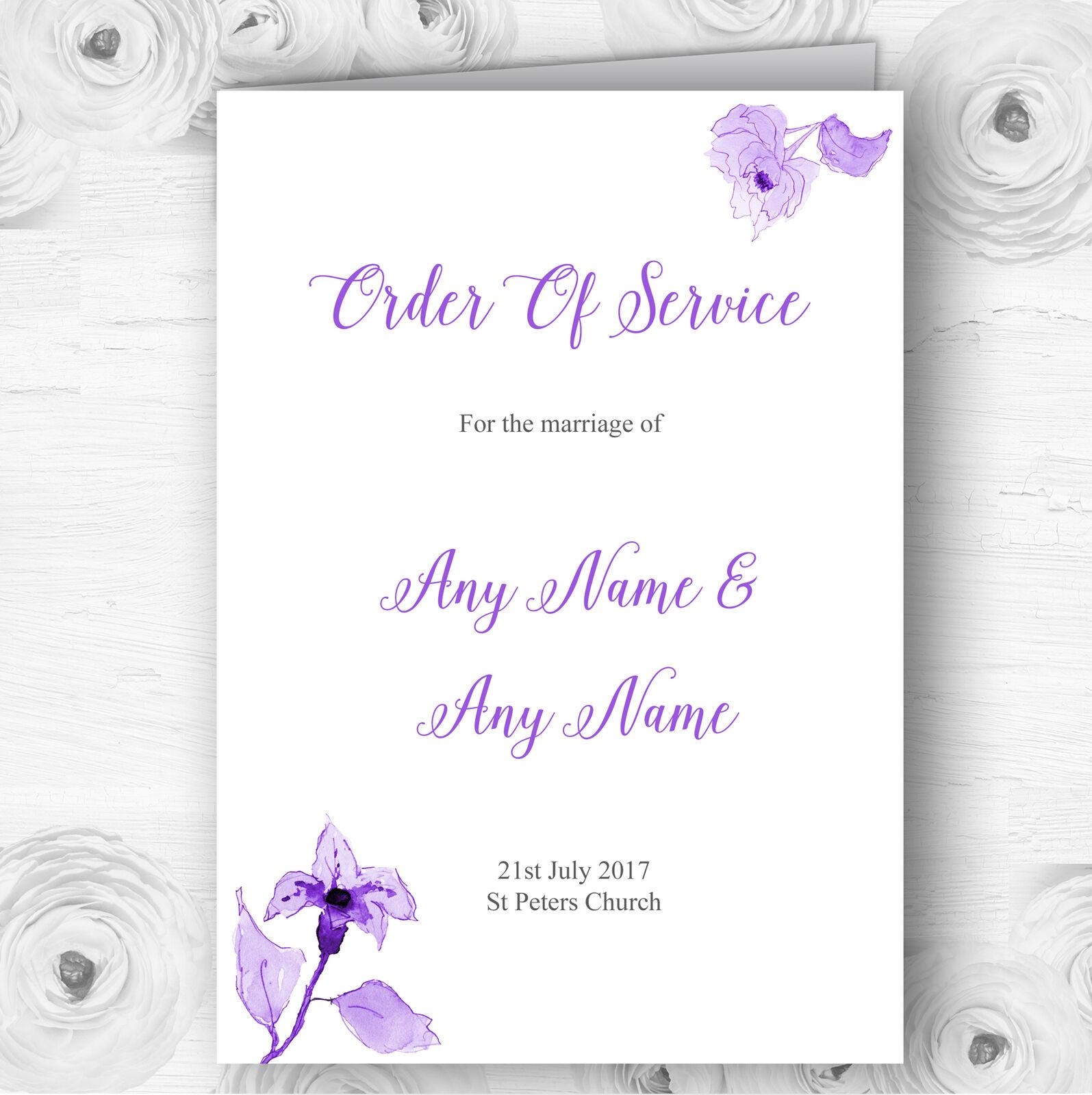 Beautiful Cadbury lila Watercolour Flowers Wedding Cover Order Of Service