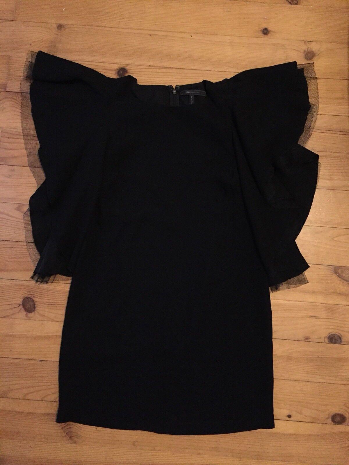 BCBG Max Azria Robe Tunique Manches Volants black Tulle 4 FR