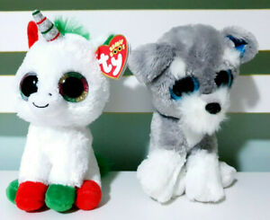 Lot-of-2x-TY-Beanie-Boos-Whiskers-the-Dog-amp-Candy-Cane-the-Unicorn-16cm-Tall