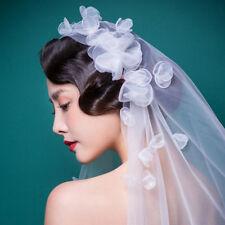 Korean Style Elegant Veil Wedding Prom Bridal Veil Handmade 3D Flower Headdress