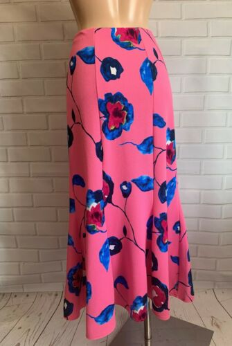 PINK FLORAL MAXI FULL LENGTH FISHTAIL STYLE CASUAL  SKIRT SIZE 14-22