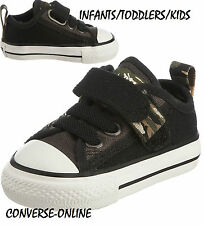 f2787f39d0bfd BABY Boys CONVERSE All Star BLACK STRAP CAMO SLIP ON Trainers Shoes 21 UK  SIZE 5