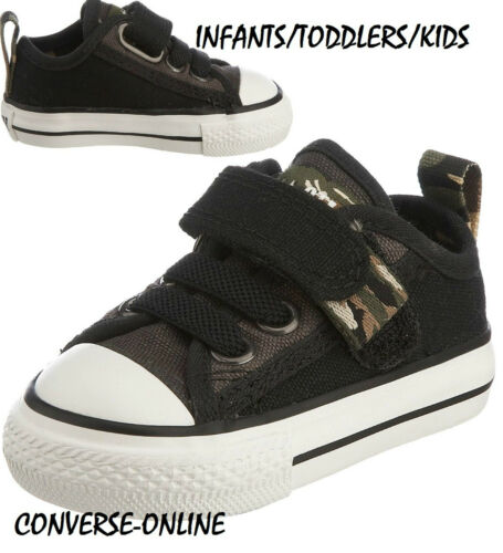 BABY Boys CONVERSE All Star BLACK STRAP CAMO SLIP ON Trainers Shoes 21 UK SIZE 5