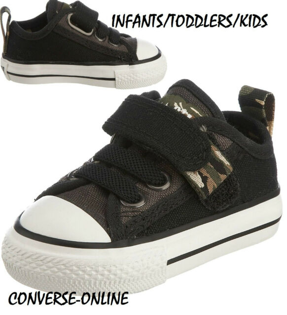 6ff6c1467f3 Baby Boys Converse All Star Black Strap Camo Slip on Trainers Shoes 21 UK  Size 5 for sale online