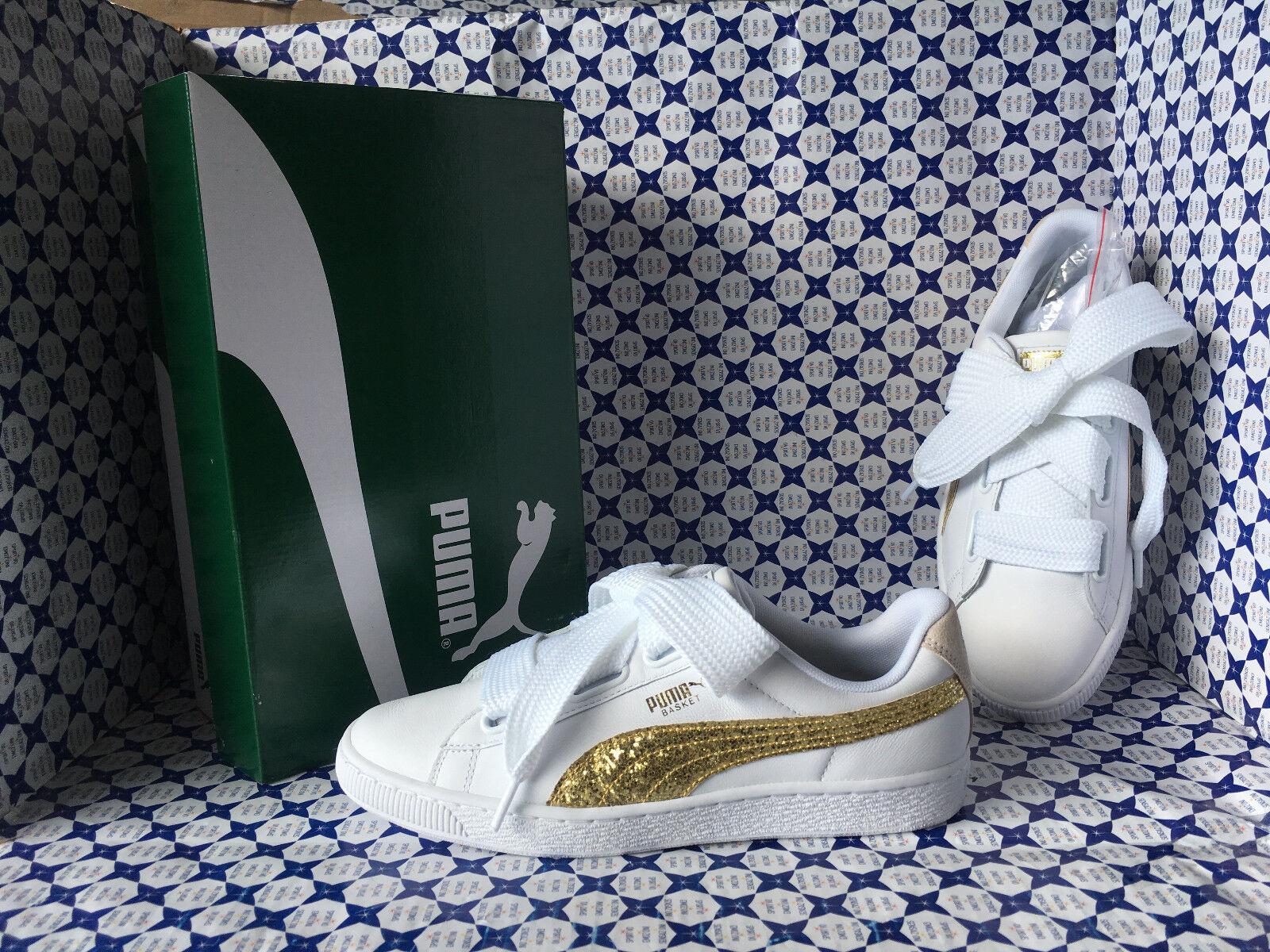 shoes Puma women SCONTATE   Basket Heart Glitter - Bianco gold - 364078
