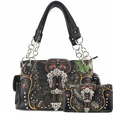 Justin West NEW Western Camo Rhinestone Studs Buckle Conceal Carry Purse Wallet