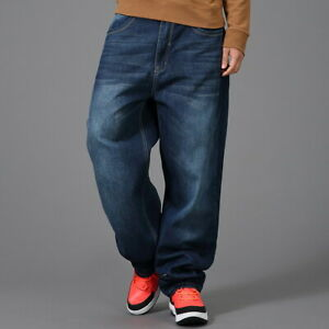 Black Mens Jeans Black Denim Baggy Loose Cargo Casual Pants Hip-Hop Streetwear
