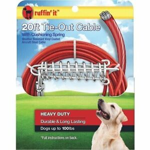 Westminster 20 Dog Tie Out Cable Red Vinyl Coated Galv