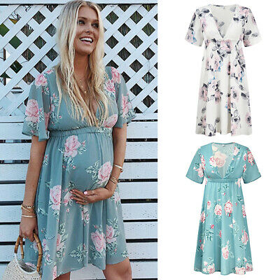 Womens Casual Floral Chiffon Maternity Dress Daily Party Beach Dresses Summer Ebay