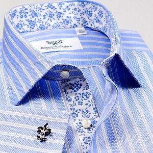 Light-Blue-Striped-Business-Formal-Dress-Shirt-Easy-Iron-B2B-Shirt-Floral