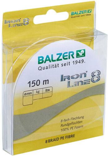 Geflochtene Angelschnur 8-fach Balzer Iron Line 8 gelb 150m verschiedene Stärken