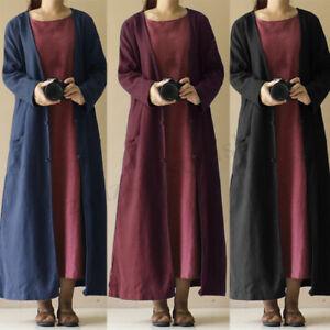 ZANZEA Womens Cotton Linen Long Sleeve Tunic Cardigan Coat Jacket Outwear Dress