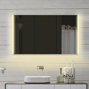 design aluminium badezimmer spiegelschrank mit led in warm kaltwei llc120x70dp 4260452235788 ebay. Black Bedroom Furniture Sets. Home Design Ideas